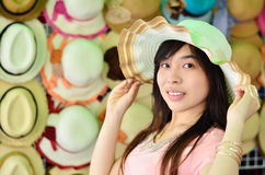 Beautiful asian woman with hat Stock Photo