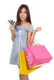 Beautiful Asian woman hold shopping bags show credit cards Stock Photos