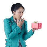Beautiful Asian woman holding a gift box Royalty Free Stock Images