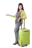 Beautiful asian woman holding suitcase. presenting copy space Stock Photo