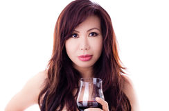 Beautiful Asian woman holds wineglass Royalty Free Stock Photo