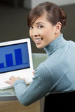 Beautiful Asian Woman On a Laptop Computer Royalty Free Stock Image