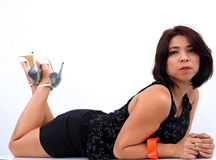 Beautiful Asian woman lies on the floor Stock Photo