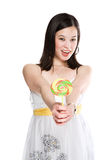 Beautiful asian woman with lollipop Royalty Free Stock Image