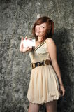 Beautiful Asian Woman With Name Card Stock Photos