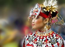 Beautiful asian woman, national dress. Blured background Stock Images