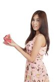 Beautiful Asian woman open a  red gift box Stock Photos