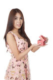 Beautiful Asian woman open a  red gift box Stock Images