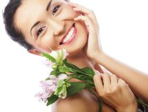 Beautiful asian woman with pink flowers Royalty Free Stock Photo