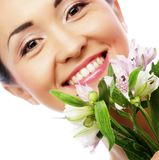 Beautiful asian woman with pink flowers Stock Photos