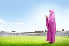 Beautiful asian woman in pink veil standing on grass raise the hands and look down stock image