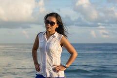 Beautiful asian woman portrait. At Maldives Stock Photography