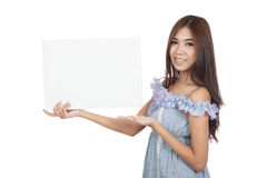 Beautiful Asian woman present blank sign with palm hand Stock Image