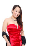 Beautiful Asian woman in red dress Royalty Free Stock Photo