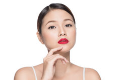 Beautiful asian woman with retro makeup with red lips isolated o Royalty Free Stock Photography