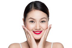 Beautiful asian woman with retro makeup with red lips isolated o. N white background Stock Photography