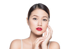 Beautiful asian woman with retro makeup with red lips  o Stock Photography