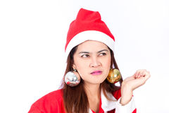 Beautiful asian woman in Santa Claus hat thinking Stock Photo