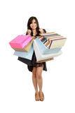 Beautiful asian Woman with Shopping Bags Royalty Free Stock Photo