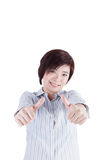 Beautiful asian woman showing her finger Stock Photo