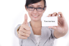 Beautiful Asian Woman Showing Thumbs Up Stock Images