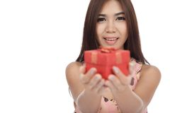 Beautiful Asian woman smile give  red gift box Stock Images