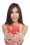 Beautiful Asian woman smile give  red gift box Stock Photos