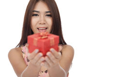 Beautiful Asian woman smile give  red gift box Stock Photography