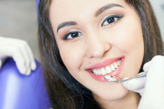 Beautiful asian woman smile with healthy teeth whitening Royalty Free Stock Photos