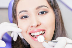 Beautiful asian woman smile with healthy teeth whitening Royalty Free Stock Images