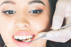 Beautiful asian woman smile with healthy teeth whitening Stock Image