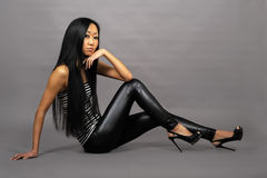 Beautiful asian woman in stripped vest Stock Images