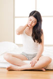 Beautiful asian woman suffering Shoulder neck ache tired Royalty Free Stock Photo