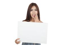 Beautiful Asian woman surprise with blank sign Stock Photography