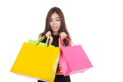 Beautiful Asian woman  surprise with  shopping bags in both hand Stock Images