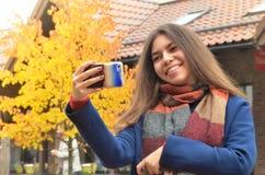 Beautiful Asian woman take a selfie royalty free stock image