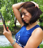 Beautiful Asian woman takes selfie royalty free stock photography