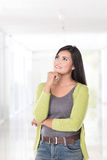 Beautiful asian woman thinking, look up Stock Images