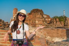 Beautiful Asian woman travel in Ayutthaya Thailand stock image