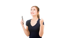 Beautiful asian woman using cellphone Stock Images