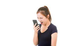 Beautiful asian woman using cellphone. On white background Royalty Free Stock Photos