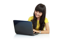 Beautiful asian woman using laptop Royalty Free Stock Images