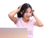 Beautiful asian woman using laptop computer on white background Royalty Free Stock Image