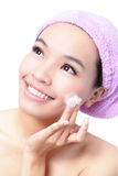 Beautiful asian woman washing her beauty face Royalty Free Stock Photos