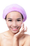Beautiful asian woman washing her beauty face Stock Photos