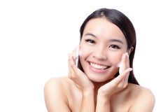 Beautiful asian woman washing her beauty face Royalty Free Stock Photo