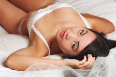 Beautiful Asian Woman Wearing Lingerie Royalty Free Stock Photography