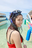 Beautiful asian woman wearing snorkeling Royalty Free Stock Images
