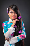 Beautiful asian woman wears a national dress Stock Photography