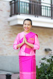 Beautiful asian woman with welcome expression. Thailand Stock Images